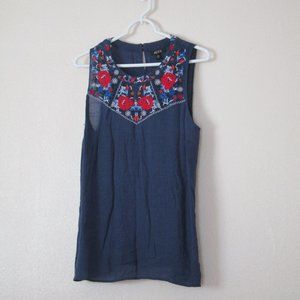 Alyx Floral Embroidered Sleeveless Top, XL